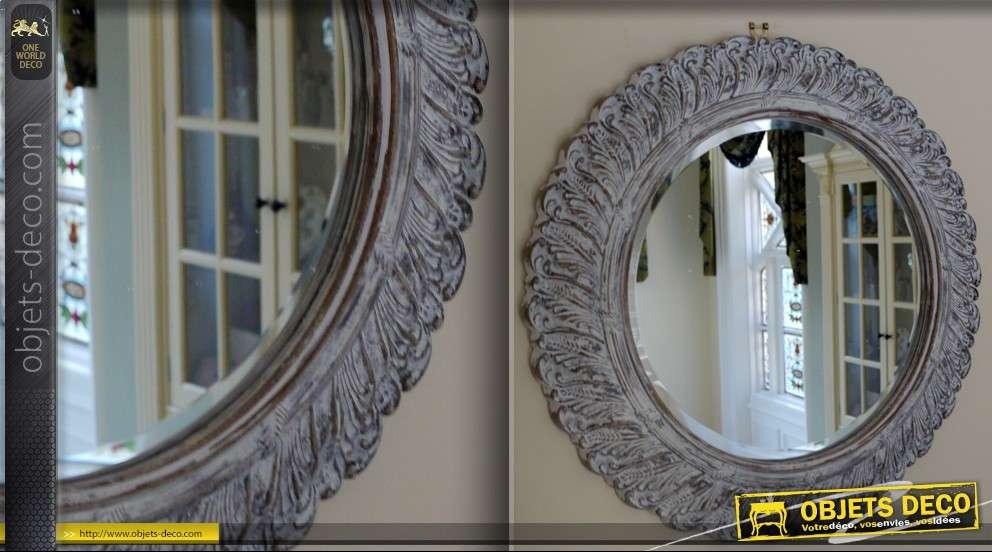 miroir ovale style baroque argent et vieilli 49 cm. Black Bedroom Furniture Sets. Home Design Ideas