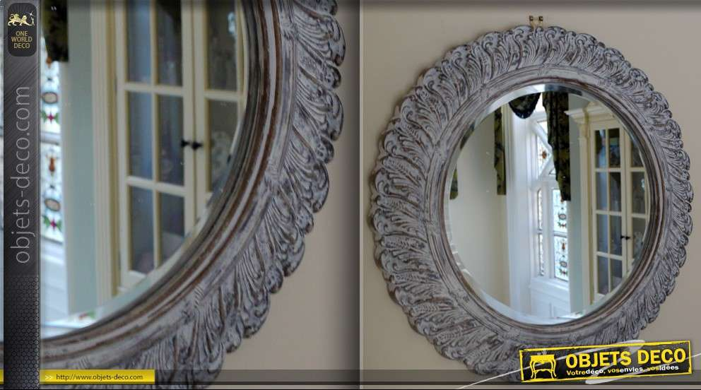 Miroir rond Shabby chic blanchi