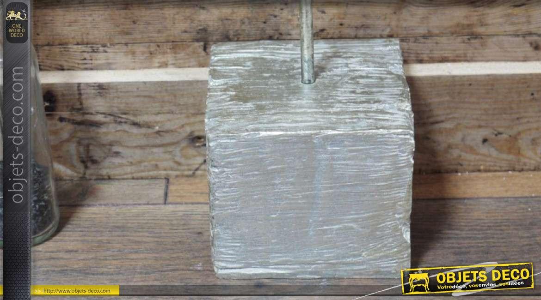 Trophée en résine monté sur socle en bois rustique, L'Antilope finition argent ancien, 46cm