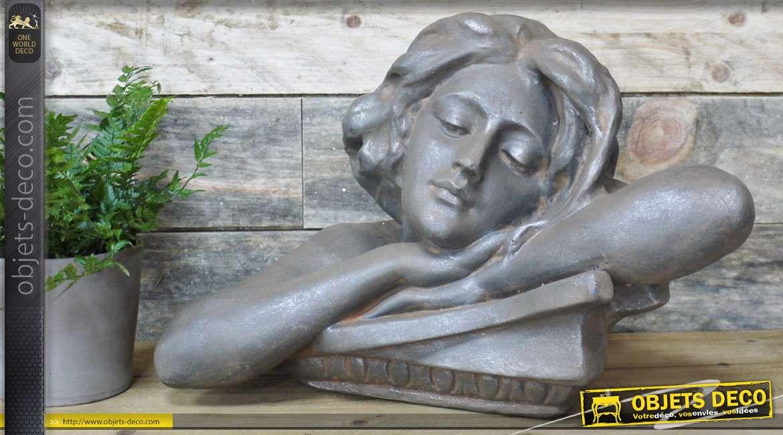 Sculpture en résine finition vieille pierre, buste de femme rêvassant, intérieur-extérieur 46cm