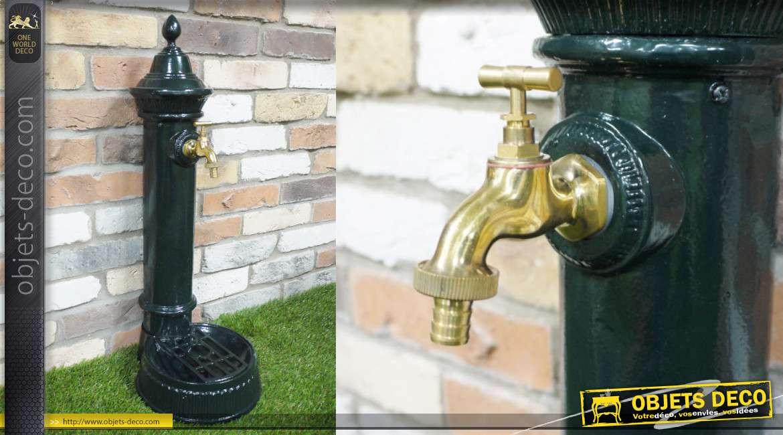 Fontaine de jardin en fonte d'aluminium finition vert bouteille brillant, avec robinet 70cm