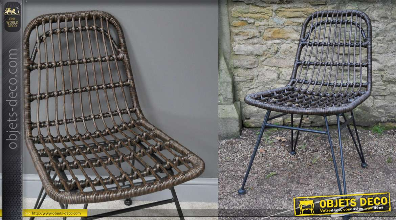Chaise de jardin moderne, structure en métal noir et assise style rotin foncé, 83cm