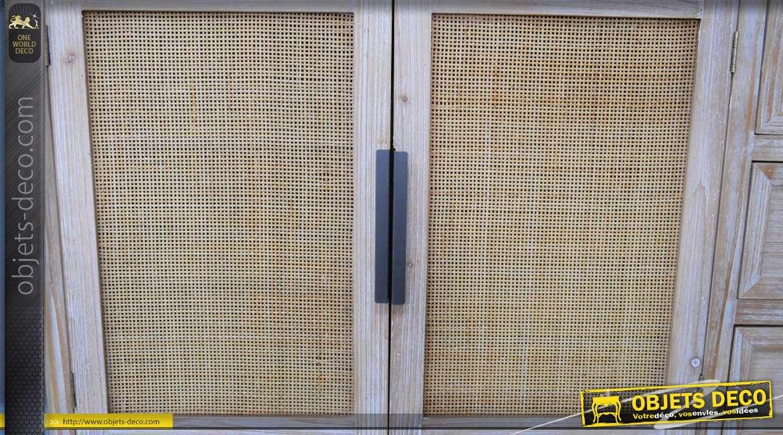 Meuble d'appoint en bois de sapin, métal et rotin, style vintage modernisé inspi années 50