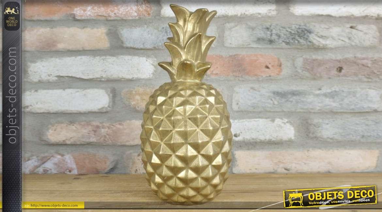 Ananas en céramique finition doré ancien, style vintage 35cm de hauteur finale