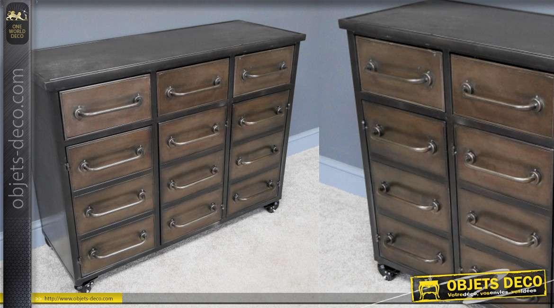 Meuble en métal finition noir et cuivré, 12 tiroirs inspiration meuble de métier