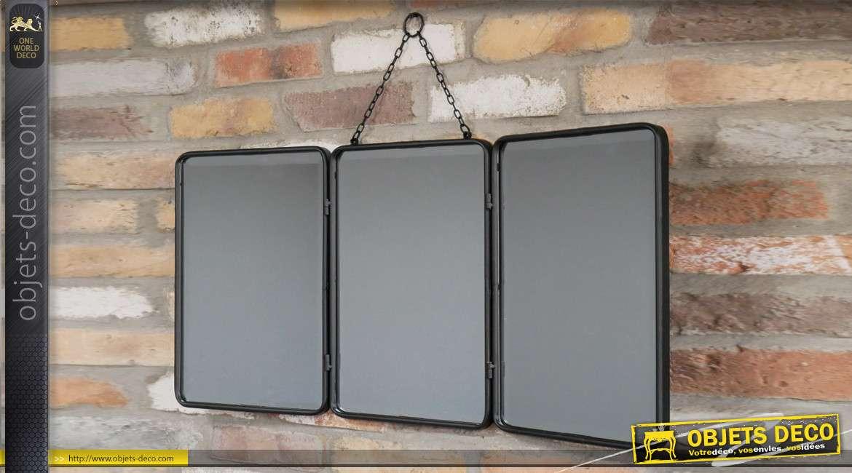 Miroir de coiffeuse industriel, en trois parties et en métal finition noir ancien, 85cm