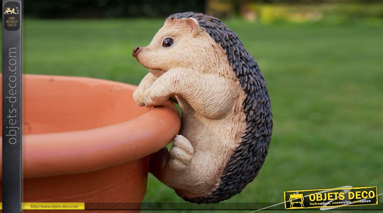 Petit animal en résine pour habillage des pots de fleurs et plantes, modèle Hérisson