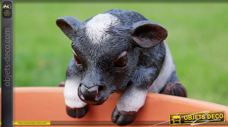 Petit animal en résine pour habillage des pots de fleurs et plantes, modèle Vache