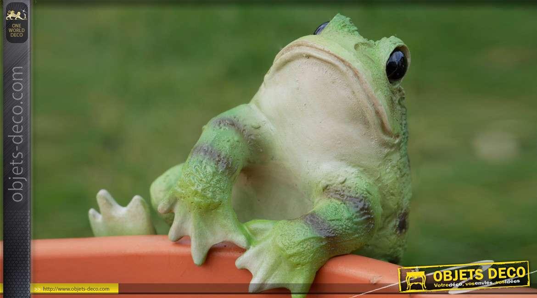 Petit animal en résine pour habillage des pots de fleurs et plantes, modèle Grenouille