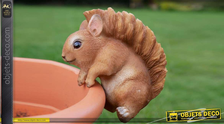 Petit animal en résine pour habillage des pots de fleurs et plantes, modèle Ecureuil