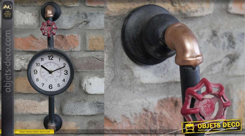 Horloge murale en métal style ancien nanomètre industriel avec vanne rouge, 46cm