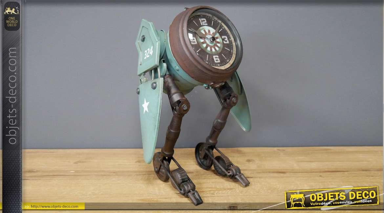 Horloge en forme d'ancien robot avec des ailes, en métal finition vintage, 32cm