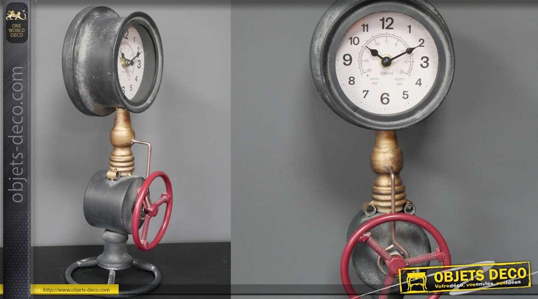 Horloge de bureau en métal, style ancienne plomberie avec vanne et nanomètre, 37cm