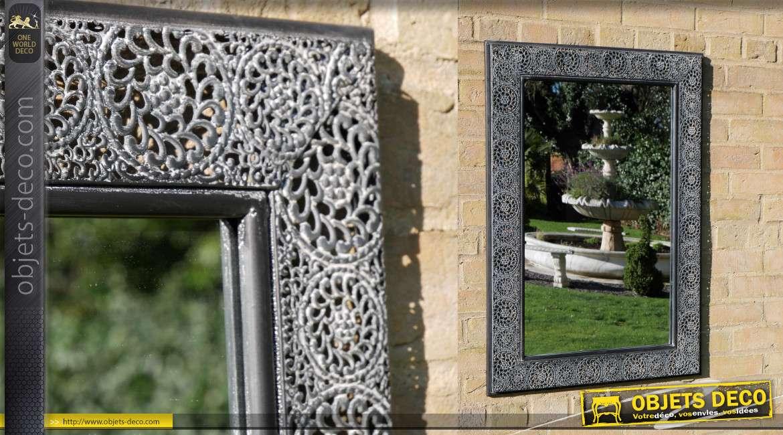 Miroir d'extérieur en métal, encadrement style moucharabieh finition gris noir ancien, 90cm