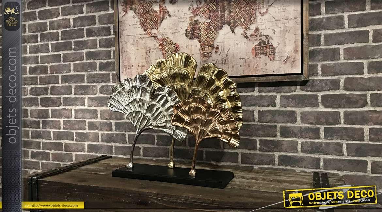Grande déco à poser en aluminium argenté, cuivré et doré, formes de feuilles modernes