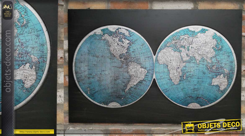 Grande déco murale en métal : planisphère en deux parties finition noir ancien, 100cm