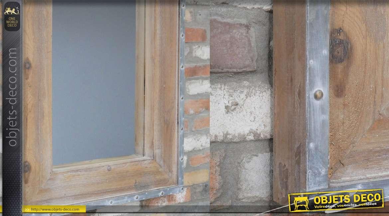 Miroir en bois et encadrement métal, style rustique avec rivets apparents, 99cm