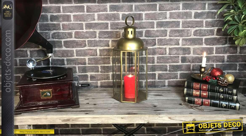 Lanterne octogonale en métal finition laiton doré vieilli 55 cm