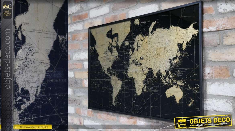 Toile du monde effet sépia avec encadrement en métal noir, style moderne 92cm