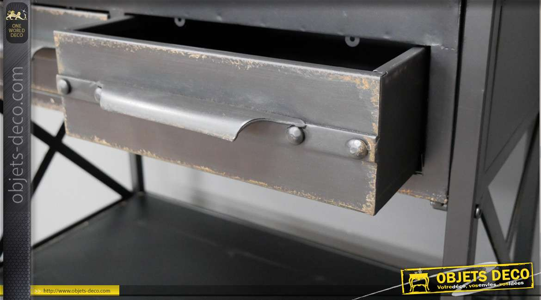 Meuble étagère en métal style industriel, sur roulettes, 2 tiroirs finition anthracite