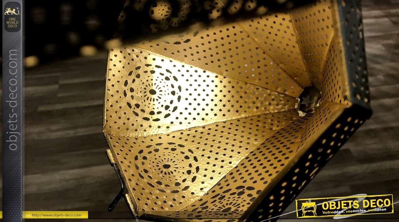 Suspension en métal noir, style oriental esprit Moucharabieh, finition mate 84cm