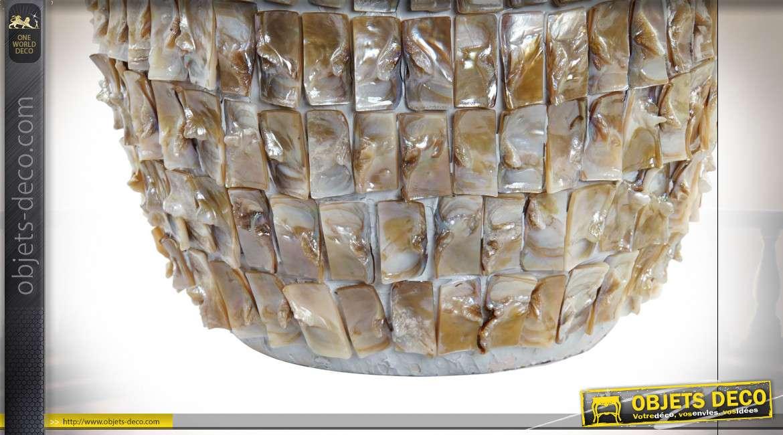 Grande lampe de table en céramique habillage nacré brun orangé, couleurs brillantes et abat-jour en coton finition lin, 59cm