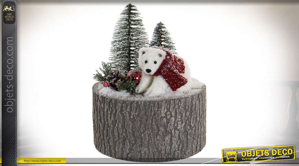DÉCORATION SAPIN POLYSTYRENE 20X20X24 OURS MARRON