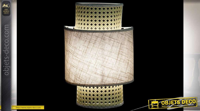 LAMPE APPLIQUE ROTIN LIN 23X11X34 MUR NATUREL