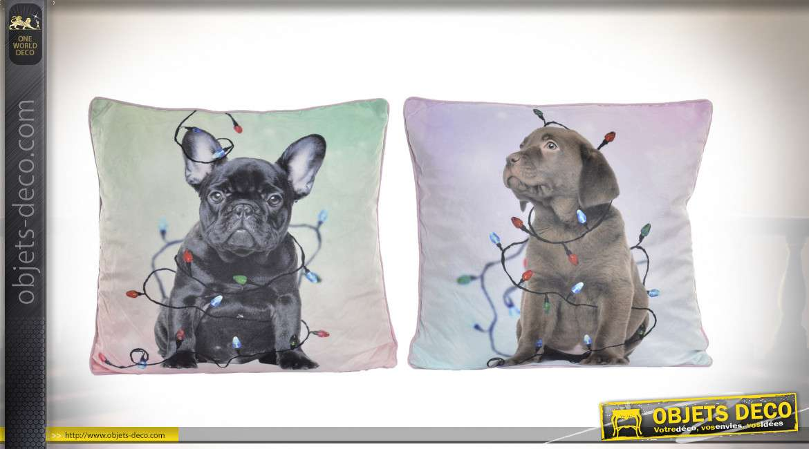 COUSSIN POLYESTER 45X45 450 GR. CHIEN 2 MOD.
