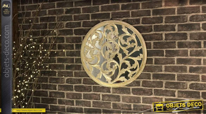 Décoration murale ronde, en bois avec miroir en fond, finition dorée et argentée effet anciennes, esprit classique, Ø59cm