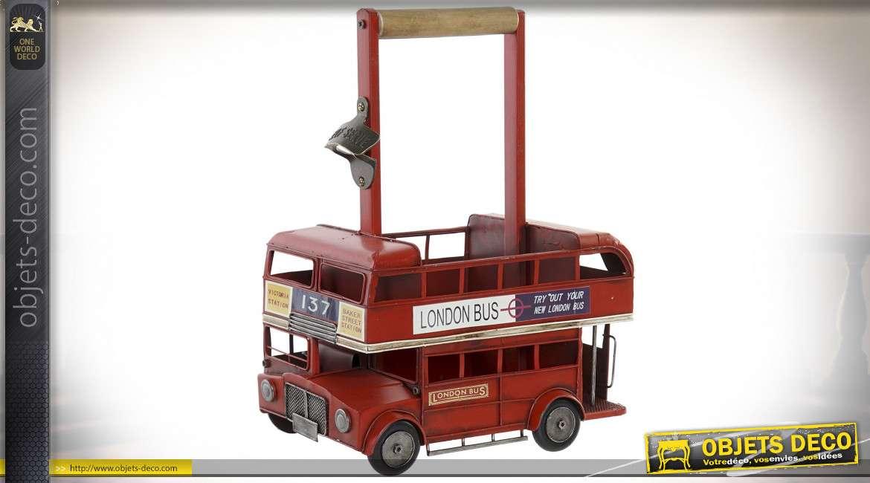Porte bouteilles en métal en forme de bus de tourisme anglais, finition vieux rouge et poignée en bois, 37cm