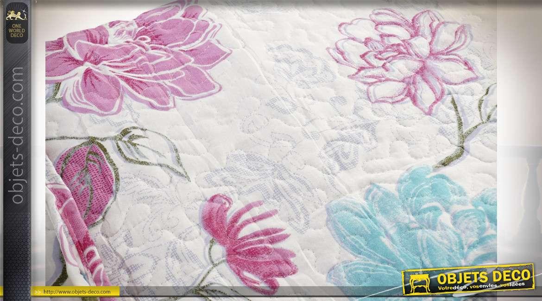 Grand couvre lit en coton épais, motifs de fleurs rétro en finition rose et bleu, 240x260cm