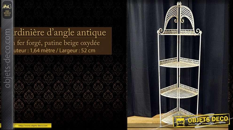 jardini re d 39 angle en fer forg beige. Black Bedroom Furniture Sets. Home Design Ideas
