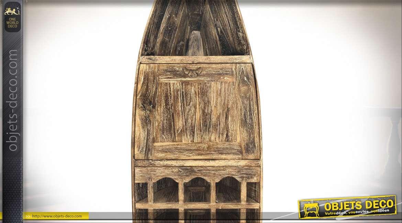 Barque meuble à bouteilles en teck avec plateau bar à abatant 200 cm