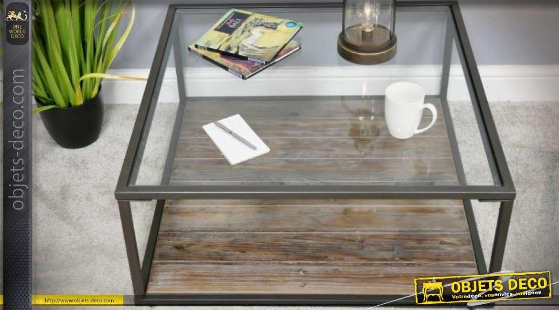 Table basse design industriel carrée en bois, métal et verre 80 x 80 cm
