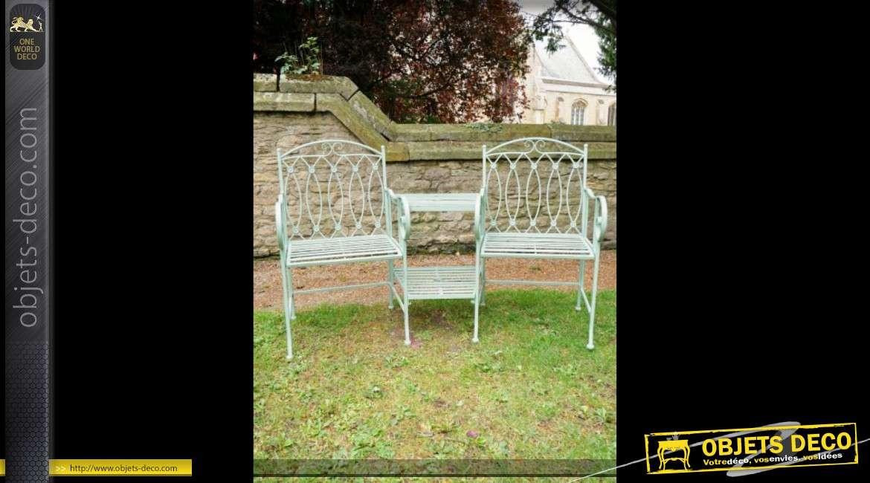 Banc de jardin en métal façon fer forgé avec deux fauteuils et tablette centrale