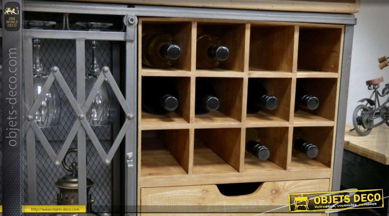 Meuble bar industriel bois et métal avec grille coulissante