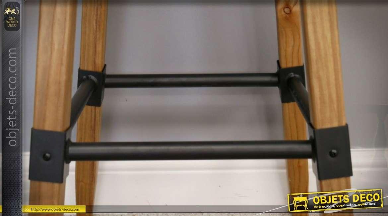 Tabouret de bar style indus et rétro en bois et métal 72 cm