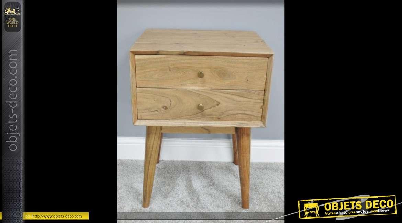 Table de chevet en acacia massif finition naturelle style vintage