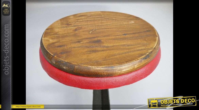 Tabouret de bar rétro industriel en bois et métal avec assise circulaire 75 cm