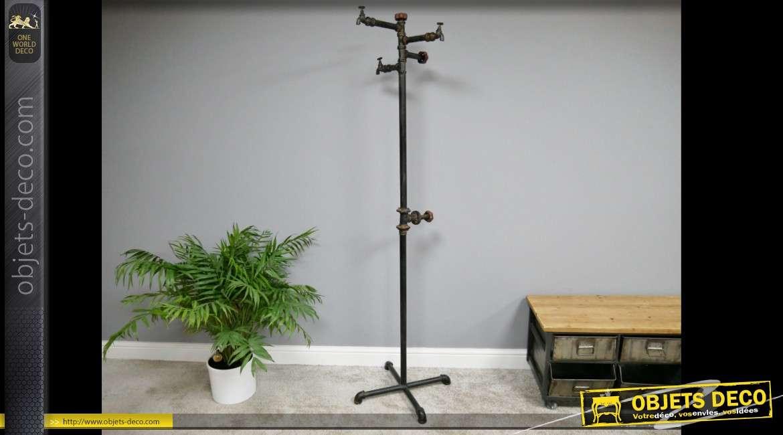 Porte-manteaux perroquet de style industriel en robinets et tuyauteries 188 cm