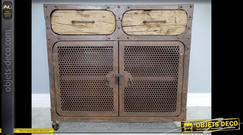 Buffet industriel et rétro en bois massif et métal vielli 2 portes 2 tiroirs