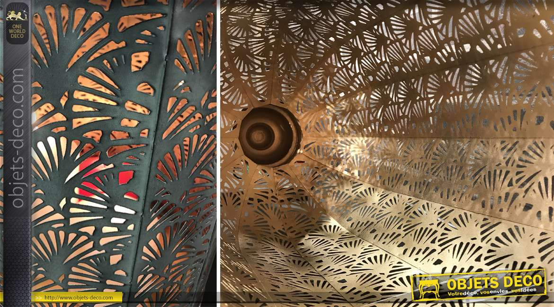 Set de 2 lanternes à silhouette en ogive métal finement ajouré 52 cm