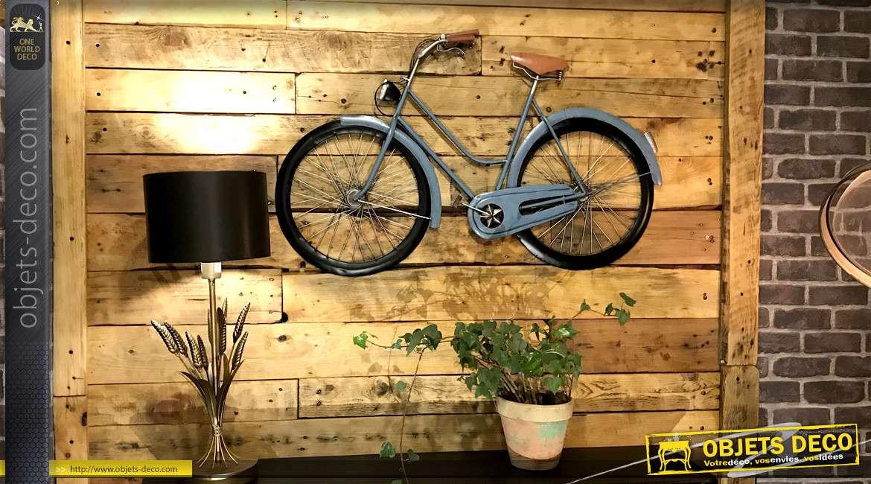 Vélo déco mural en métal, modèle vintage finition bleu pétrole, 102cm