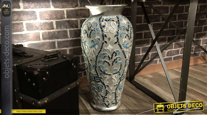 Grand vase déco en terre cuite, effet mosaique aux teintes bleues, 60cm