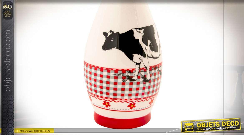 Huilier en céramique blanche avec motifs de vaches et carreaux Vichy rouge et blanc, style campagne, 24cm
