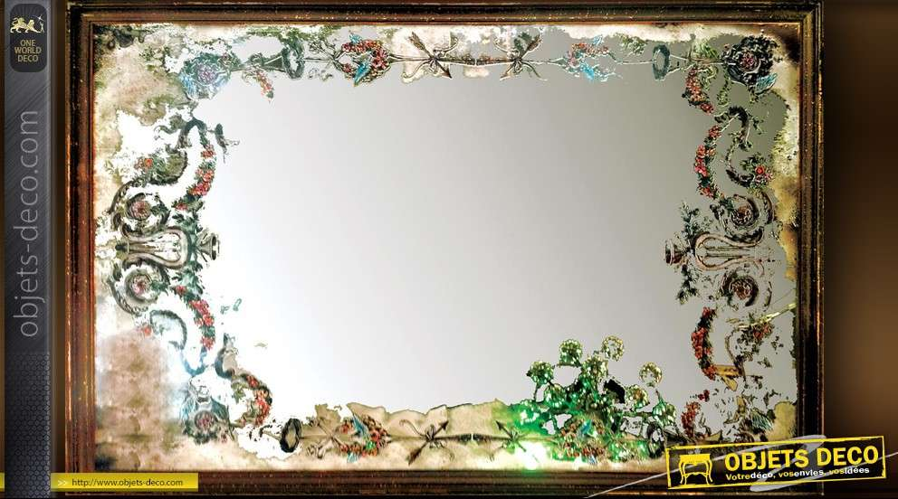 Miroir design vintage cadre festonn finition vieil argent for Miroir horizontal blanc