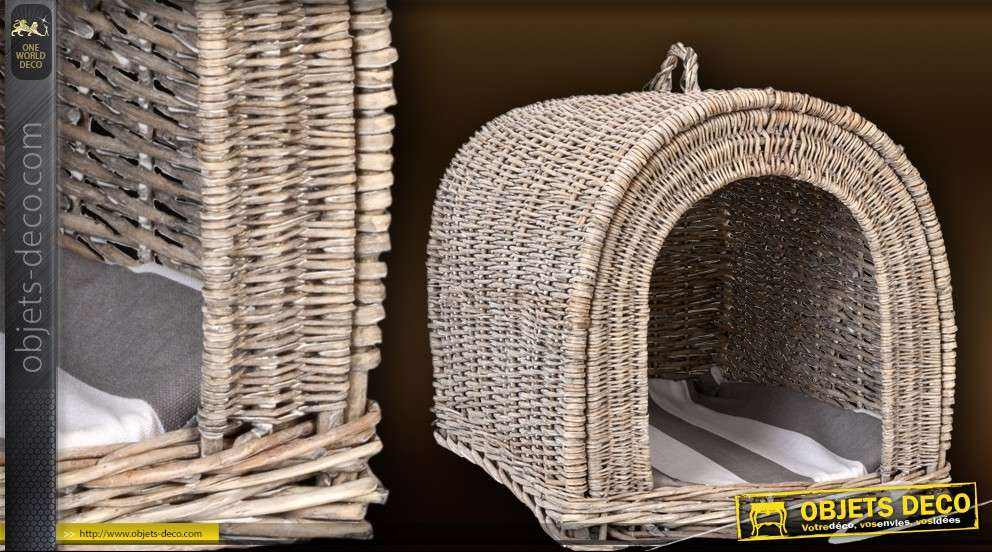 niche panier chiens ou chats en rotin. Black Bedroom Furniture Sets. Home Design Ideas