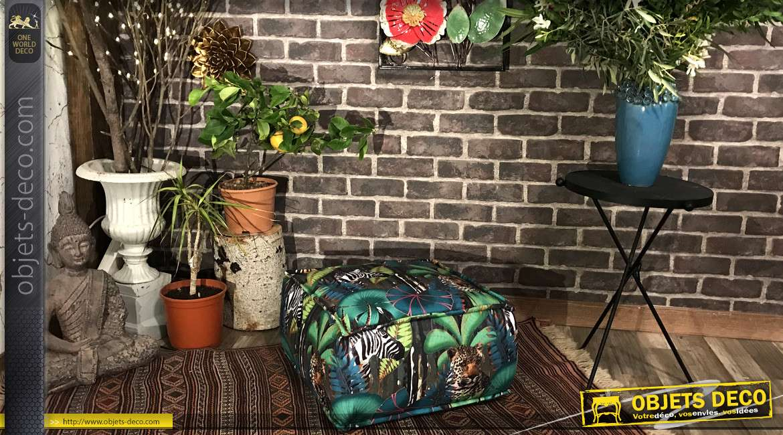 Coussin de sol aux motifs tropicaux et animaux sauvages, couleurs vives, 45x45