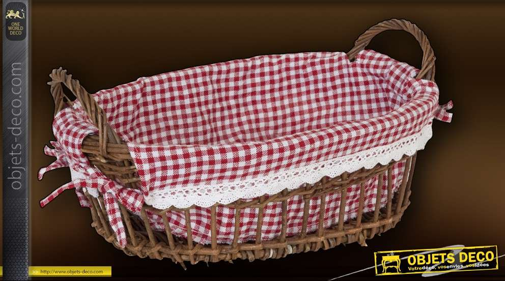 Panier d coratif en osier avec tissu vichy - Panier decoratif osier ...